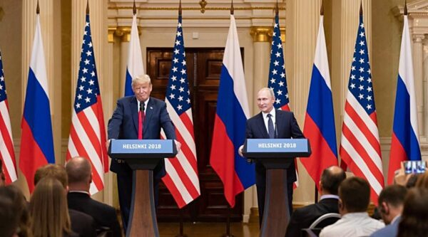 Donald Trump and Vladimir Putin at a press conference