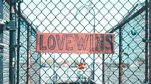 A sign reading love wins on a chain metal fence