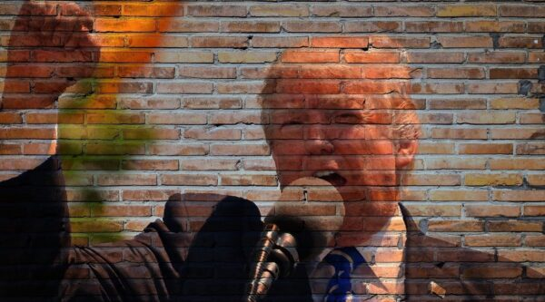 Donald Trump's image on a brick wall