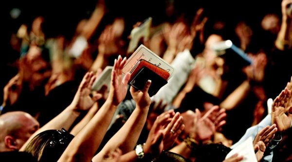 Hands raised during a church worship service