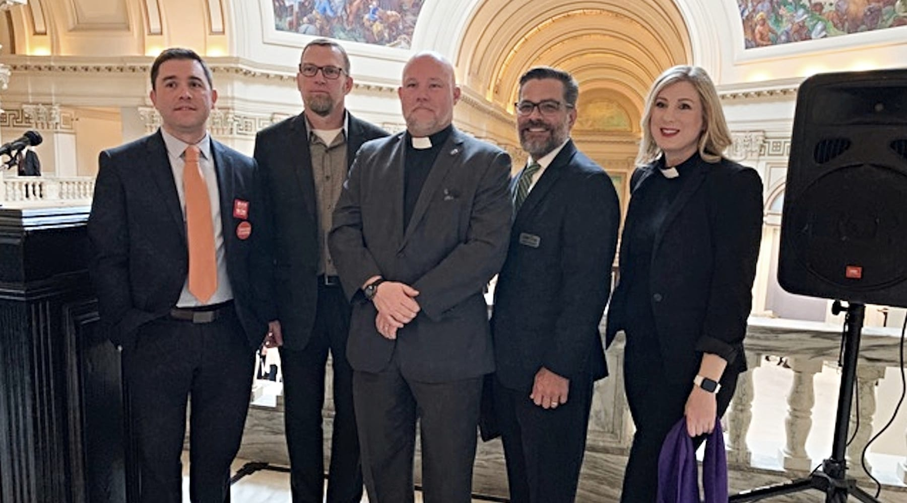From left, Rev. Tim Blogget, Southminster Presbyterian Church, Tulsa, Oklahoma; Rev. Todd Littleton, Snow Hill Baptist Church, Tuttle, Oklahoma; Rev. Chris Moore, Fellowship Congregational Church, Tulsa; Mitch Randall; Rev. Shannon Fleck, executive director, Oklahoma Conference of Churches at a Feb. 21 faith rally at the Oklahoma Capitol to oppose a permitless carry bill.