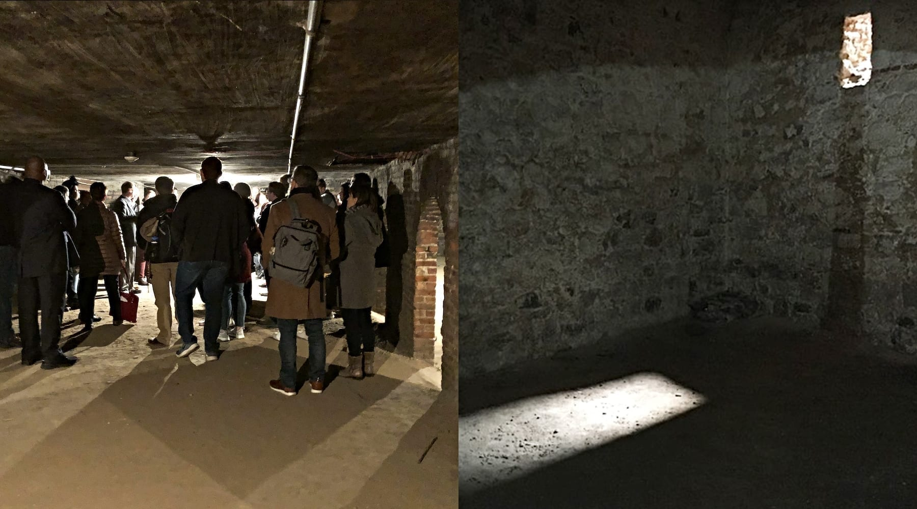 Left, Plymouth Church in Brooklyn, New York. Right, a slave cell under a chapel in Ghana.