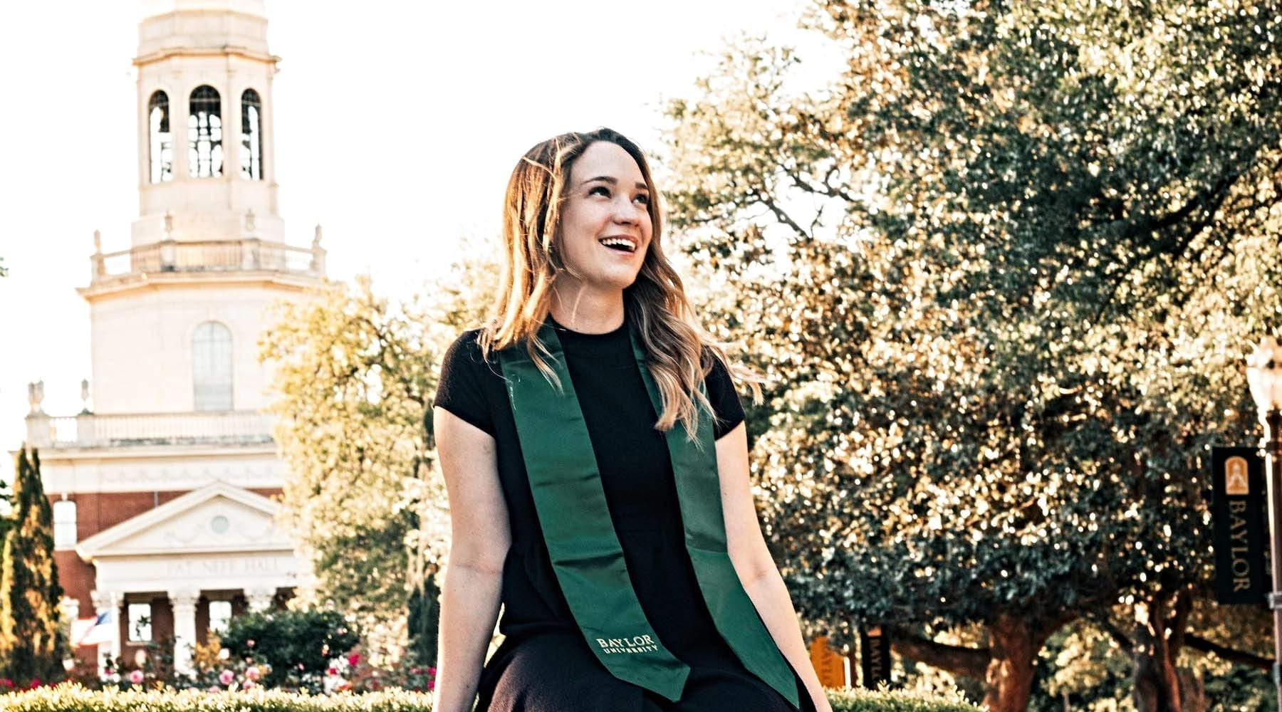 Paige Hardy on Baylor University's campus