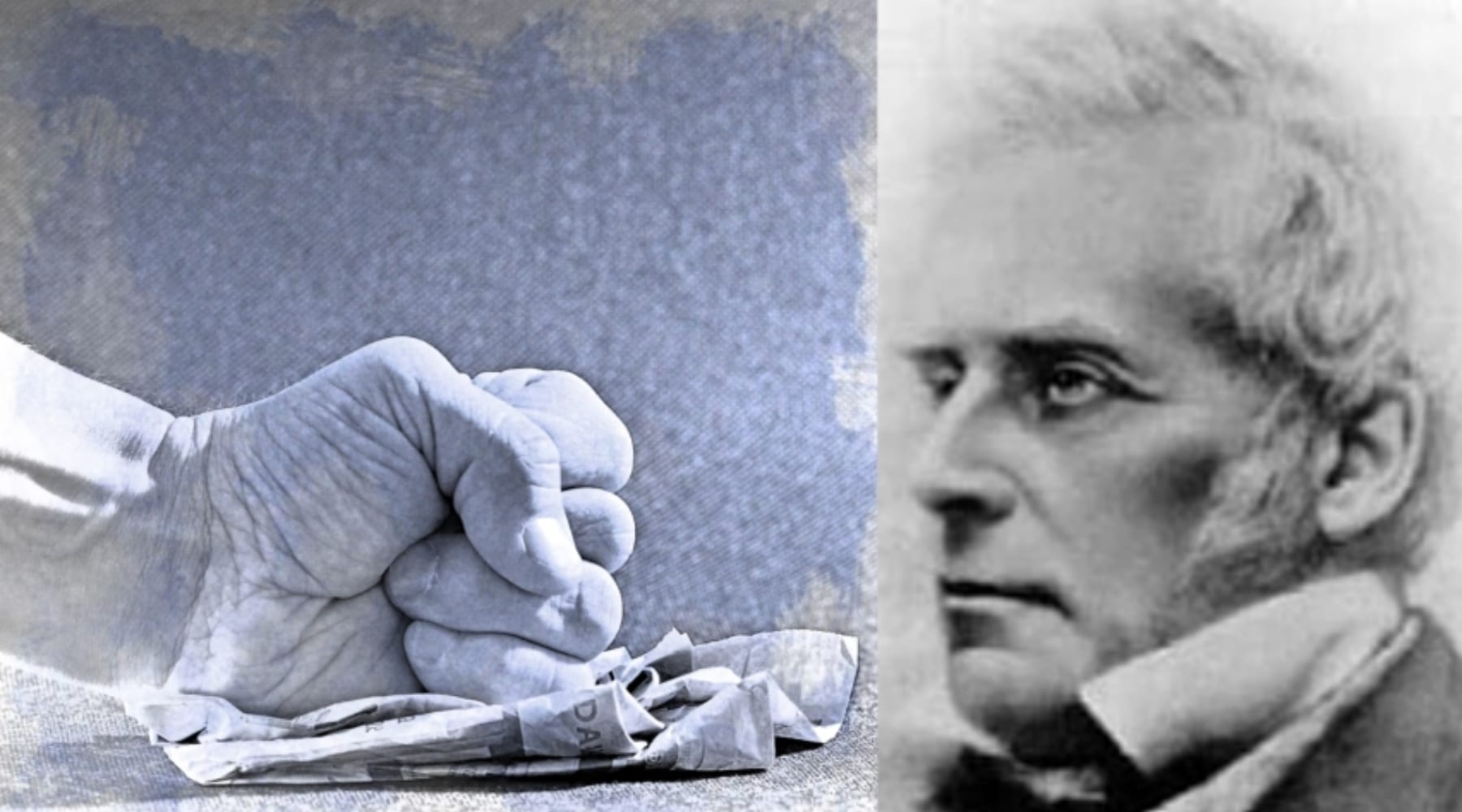 Collage of fist smashing paper and profile of John Nelson Darby
