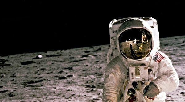 Astronaut on surface of the moon