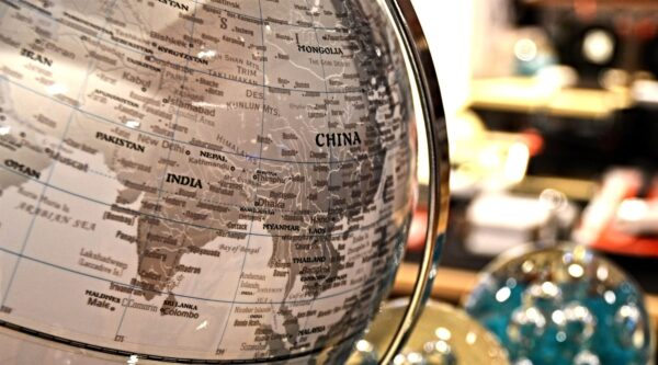 Globe displaying country of China