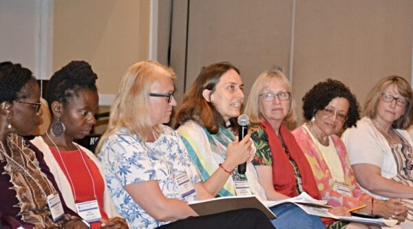 Panel of seven women including Cristina Arcidiacono in the center
