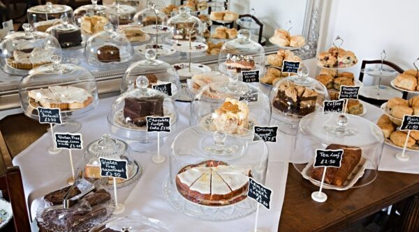 Cakes on a display table for sale