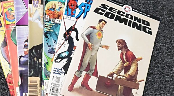'Second Coming' comic book on top of stack