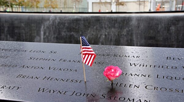 Flag and rose in names in 9-11 memorial