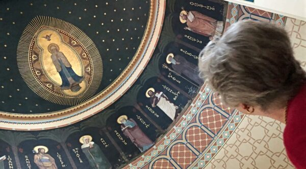 Molly Marshall inside Basilica of Immaculate Conception at Conception Abbey