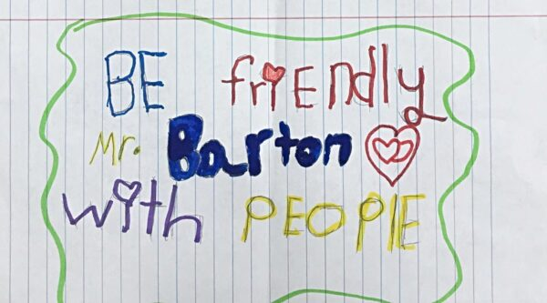 Picture of handwritten note from elementary student