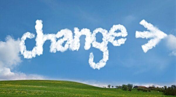 Word 'change' written in sky