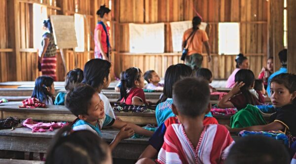 Children in impoverished classroom