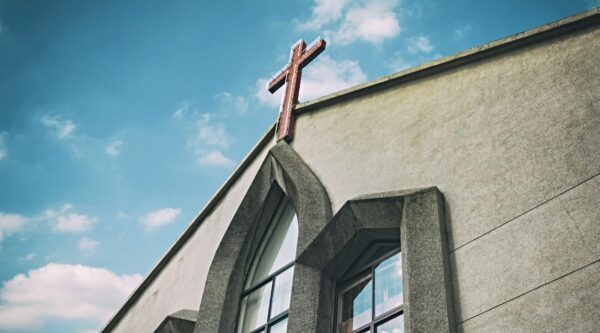 Exterior shot of front of church building