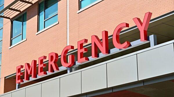 Emergency sign on hospital exterior