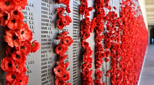 Red poppies adorning monument to war dead