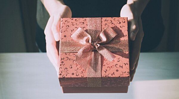 Brown gift box with bow