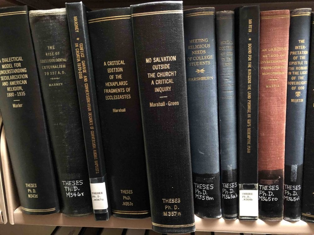 Marshall's PhD disseration in the library at Southern Seminary