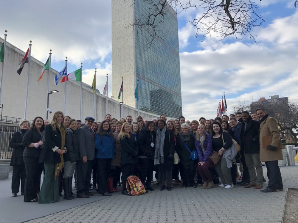 Baptist leaders, including EthicsDaily.com staff, outside UN in NYC.