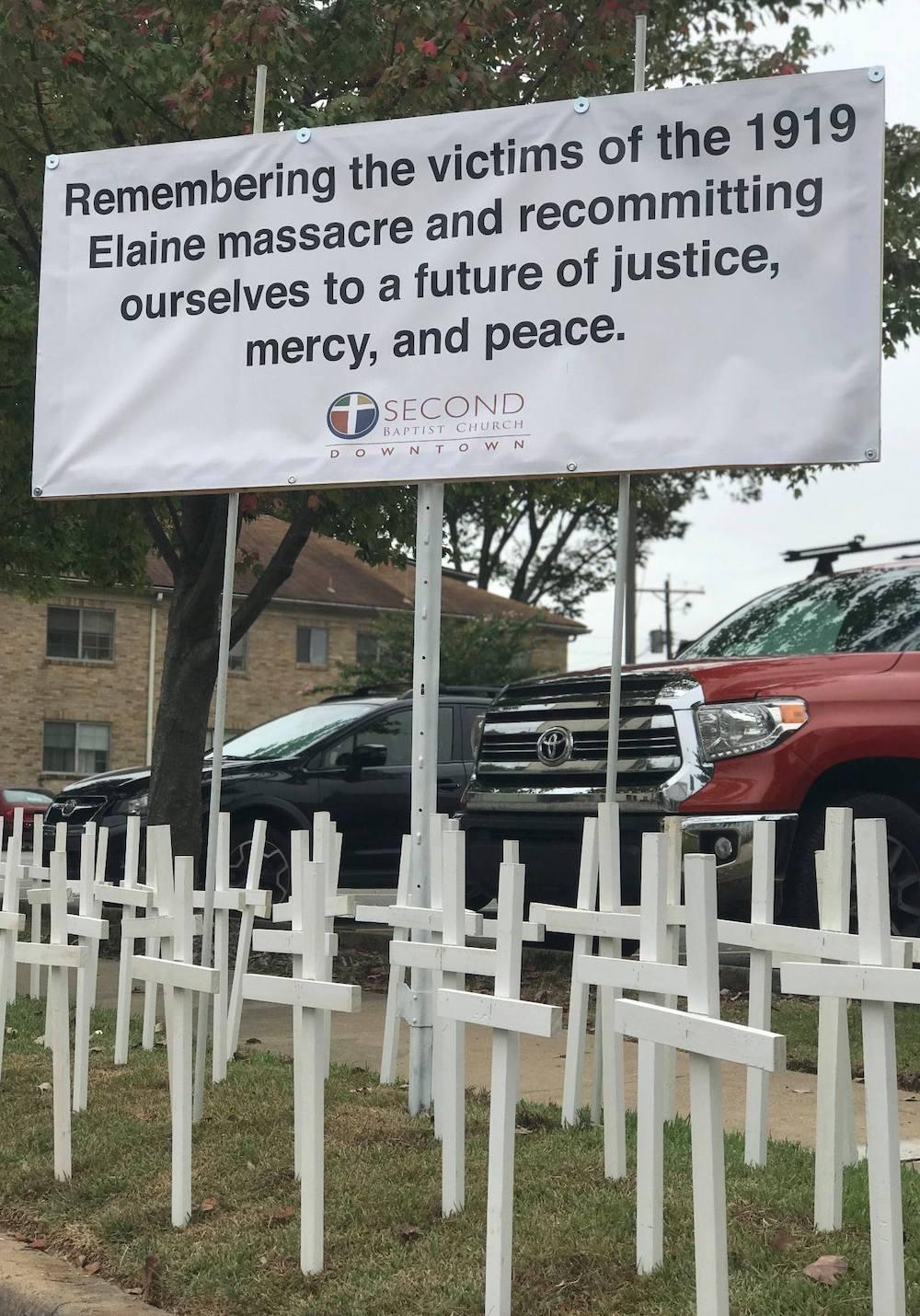 Crosses in front of Second Baptist Little Rock