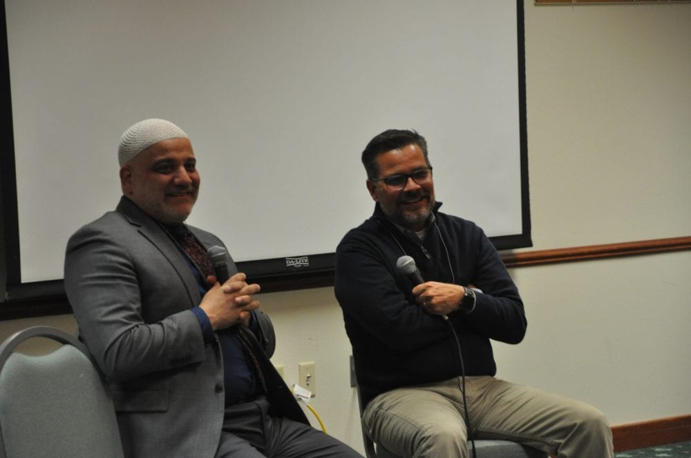 Mitch Randall (right) of EthicsDaily and his friend Imam Imad Enchassi.