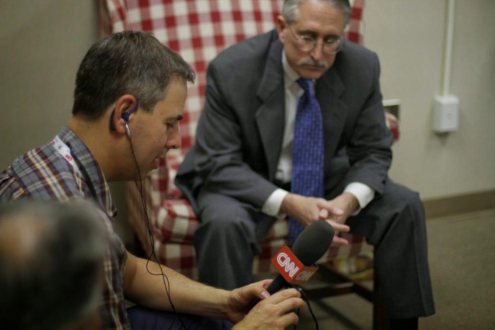 Robert Parham (1953-2017) before a CNN interview.