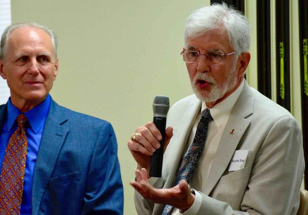 John Pierce (left) of Nurturing Faith with Wayne Smith.