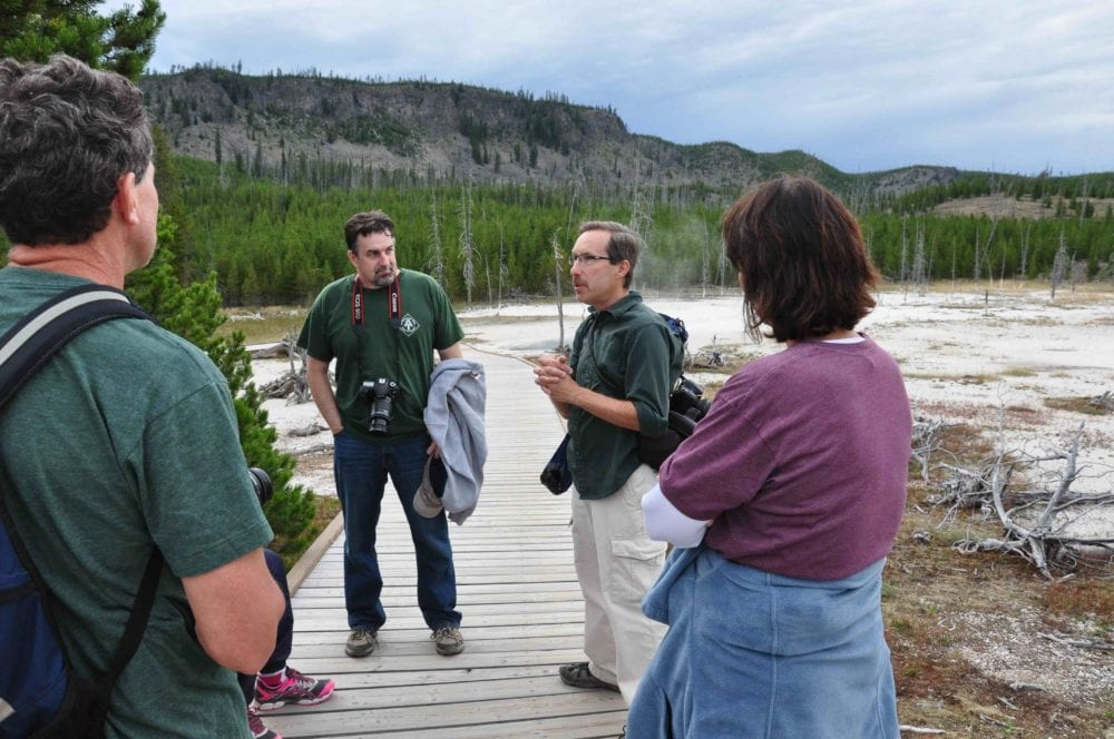 Bruce Gourley (right center) leads trip to Yellowstone.