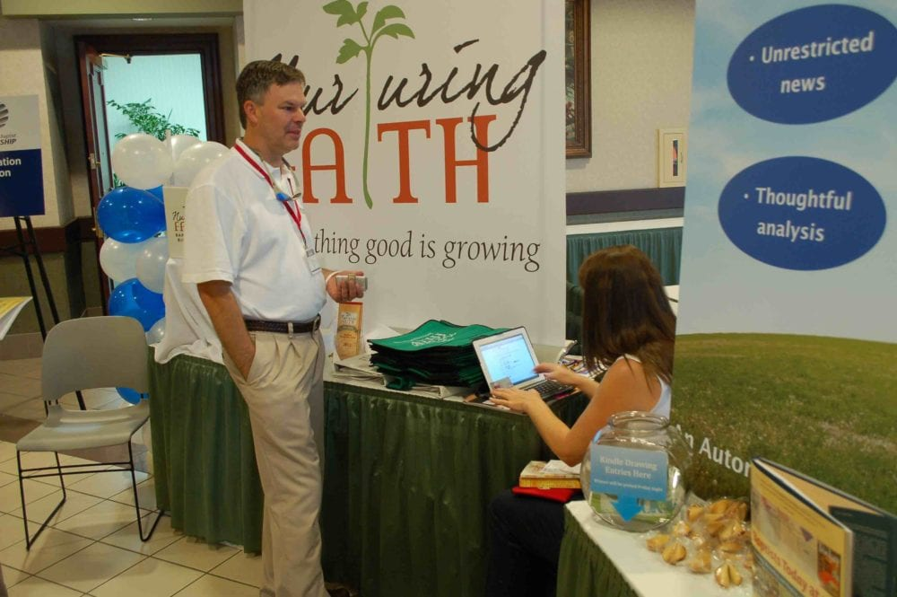 Nurturing Faith's booth at a denominational gathering.