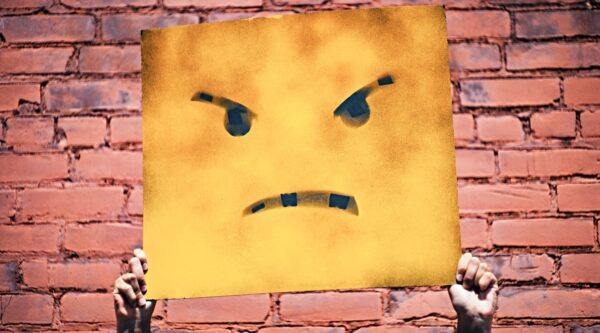 Yellow card with angry face