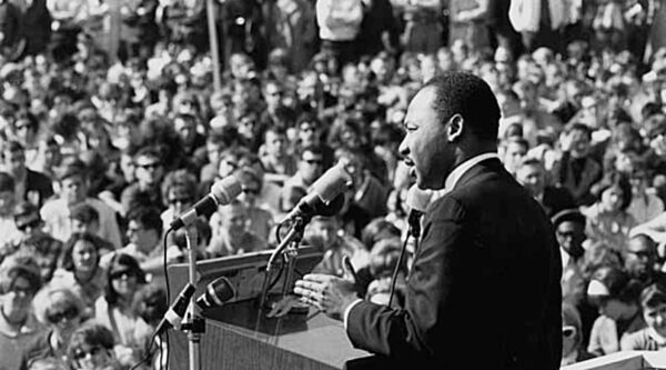 Martin Luther King Jr. speaking to a crowd