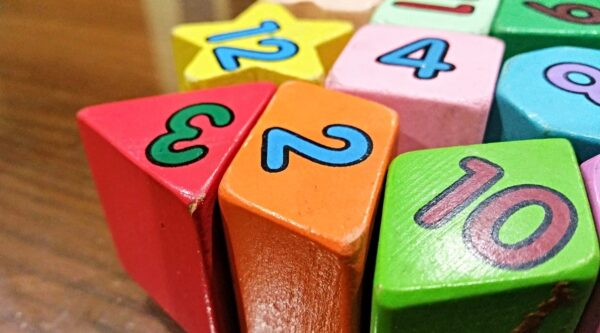 Colorful blocks with numbers printed on them