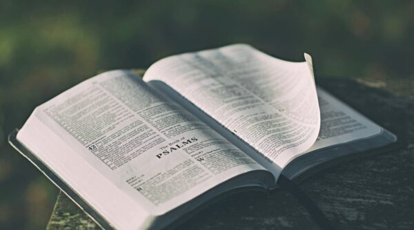 Bible open to first chapter of Psalms