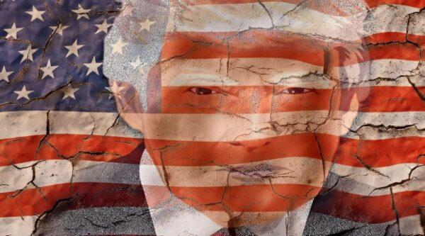 Trump caricature superimposed over cracked U.S. flag