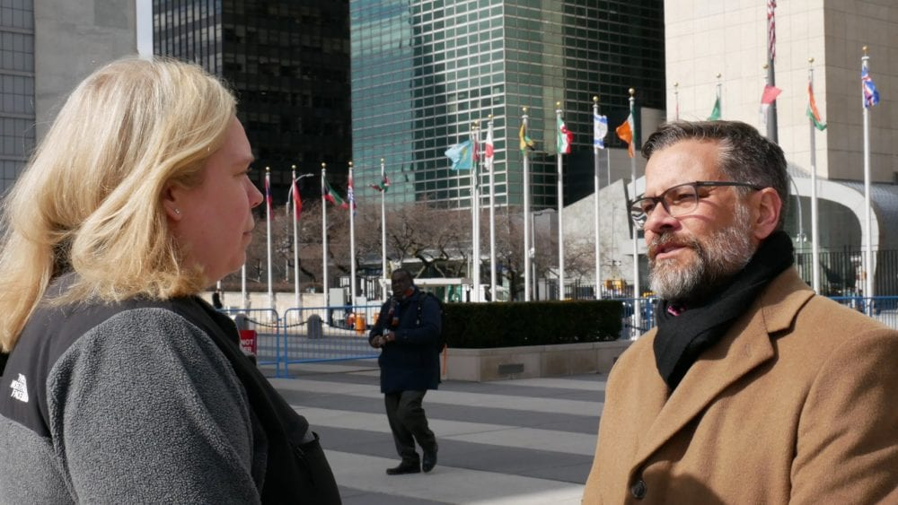 Mitch Randall of EthicsDaily visits with Jennifer Hawks of BJC outside the UN in NYC.