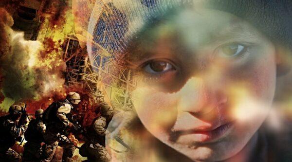 Child refugee amid war background