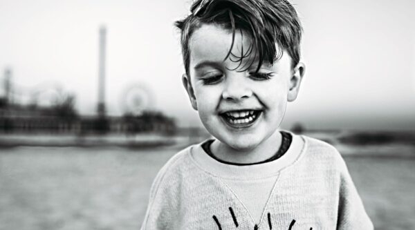 Smiling boy outside