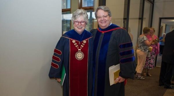 Mark Medley and Molly T. Marshall at a seminary graduation.