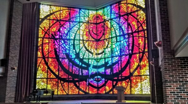 Stained-glass display in chapel at Hardin-Simmons University