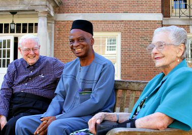 """Bill and Audrey Cowley with their former student, Jonathan Ikerionwu, at Samford University, reunited for the first time after more than 40 years during interviews for """"The Disturbances."""" (Photo: EthicsDaily.com)"""