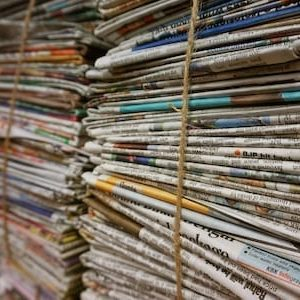 Stacks of newspapers